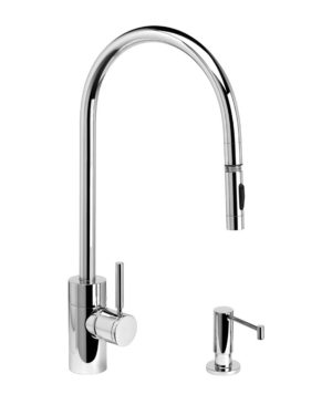 Contemporary PLP Extended Reach Pull Down Faucet - 2pc. Suite