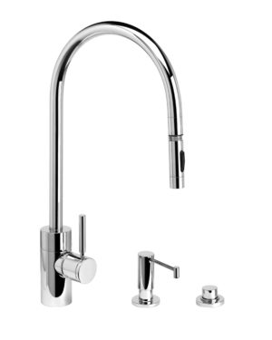 Contemporary PLP Extended Reach Pull Down Faucet - 3pc. Suite