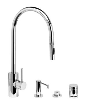 Contemporary PLP Extended Reach Pull Down Faucet - 4pc. Suite