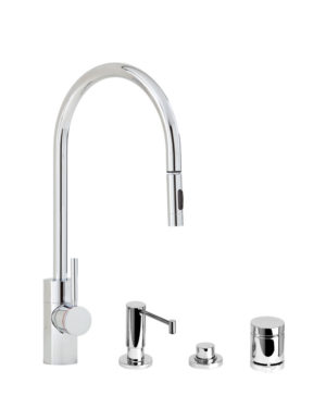 Contemporary PLP Pull Down Faucet - 4pc. Suite