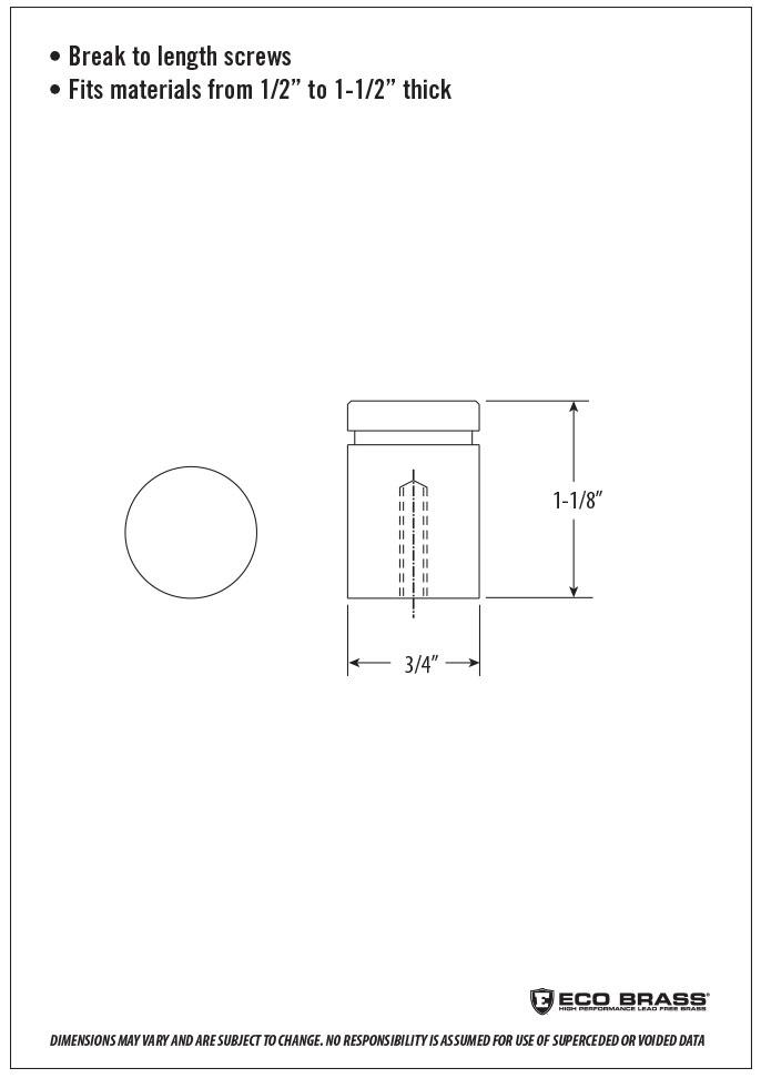 Waterstone Cabinet Knob Spec HCK-100