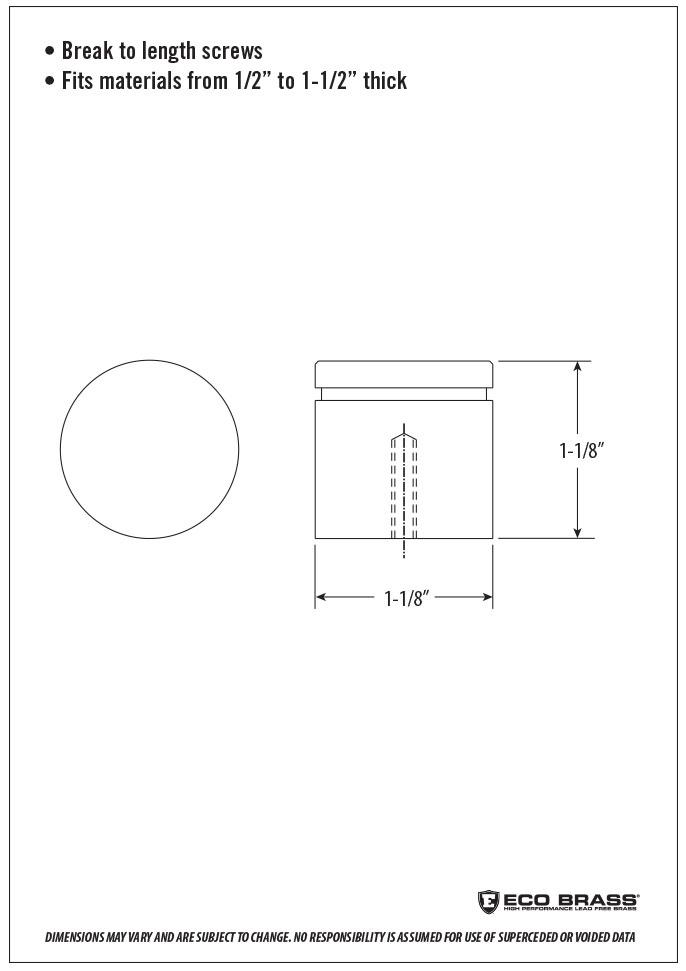 Waterstone Cabinet Knob Spec HCK-101