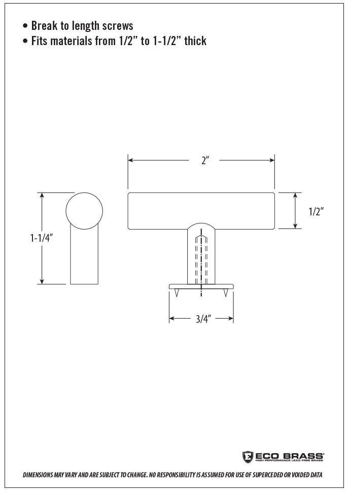Waterstone Cabinet Knob Spec HCK-102