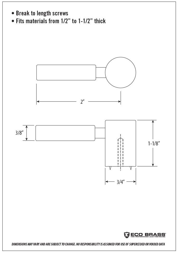 Waterstone Cabinet Knob Spec HCK-103
