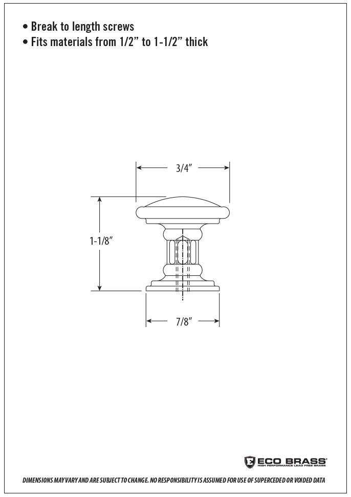 Waterstone Cabinet Knob Spec HTK-001