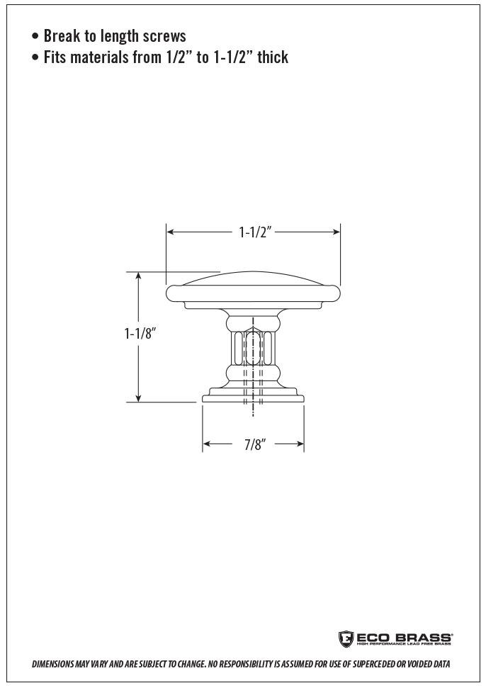 Waterstone Cabinet Knob Spec HTK-002