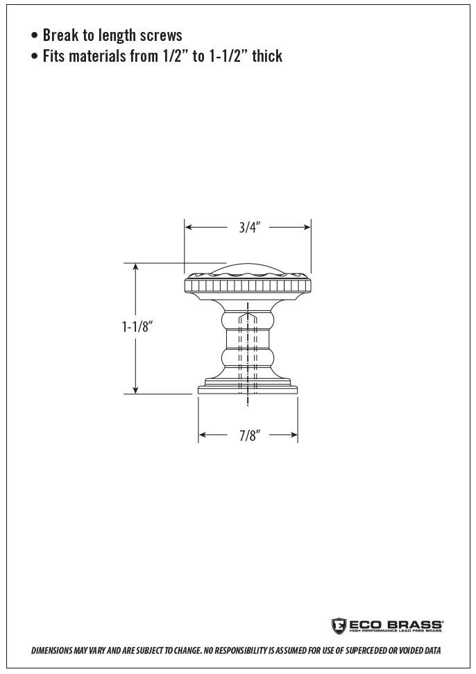 Waterstone Cabinet Knob Spec HTK-003