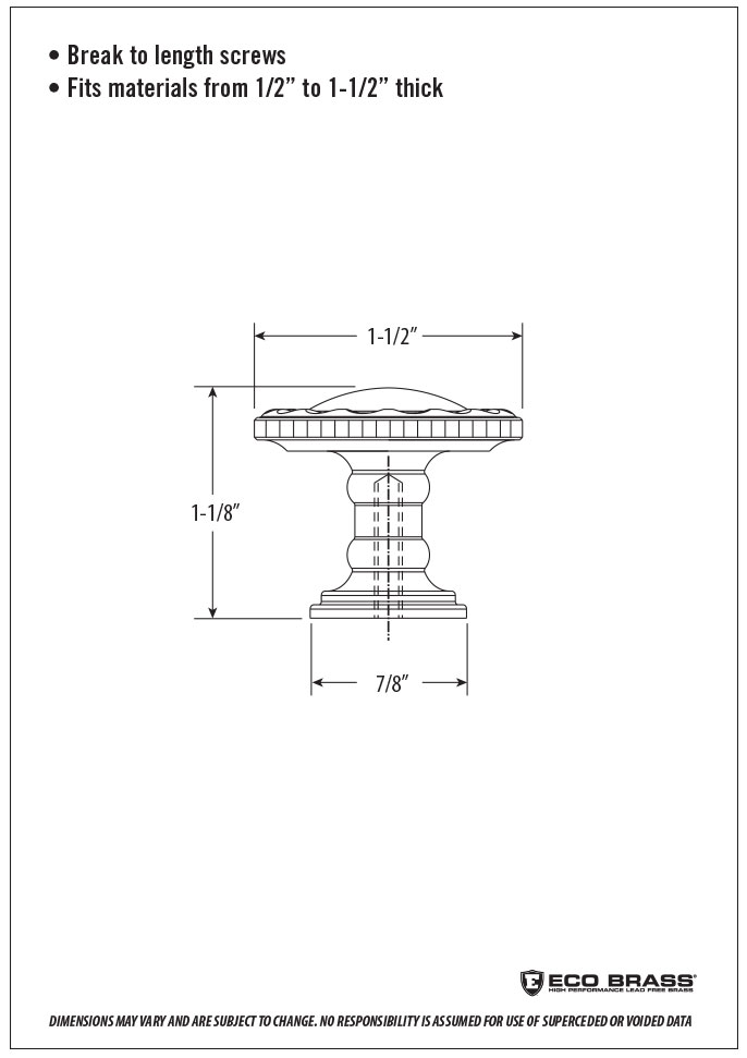 Waterstone Cabinet Knob Spec HTK-004
