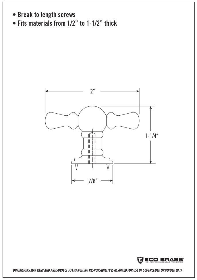 Waterstone Cabinet Knob Spec HTK-006