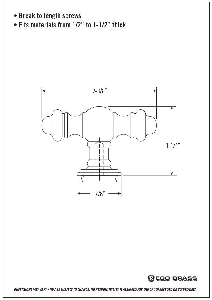 Waterstone Cabinet Knob Spec HTK-007