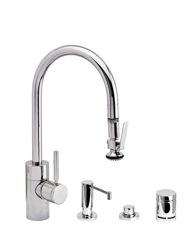 Waterstone Contemporary PLP Pulldown Faucet 4pc. Suite- 5800-4